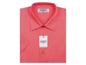Pánská košile AMJ Classic s krátkým rukávem - malinová