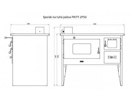 sporak na tuha paliva Prity 2P50 levy