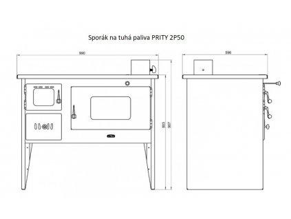sporak na tuha paliva Prity 2P50