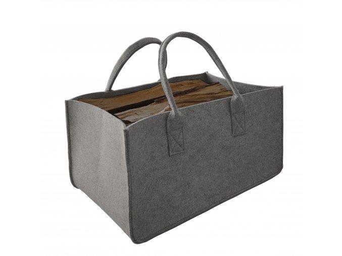 Filcová taška na dřevo šedá