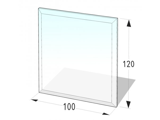 Sklo pod kamna obdélník  100x120 tl. 8 mm
