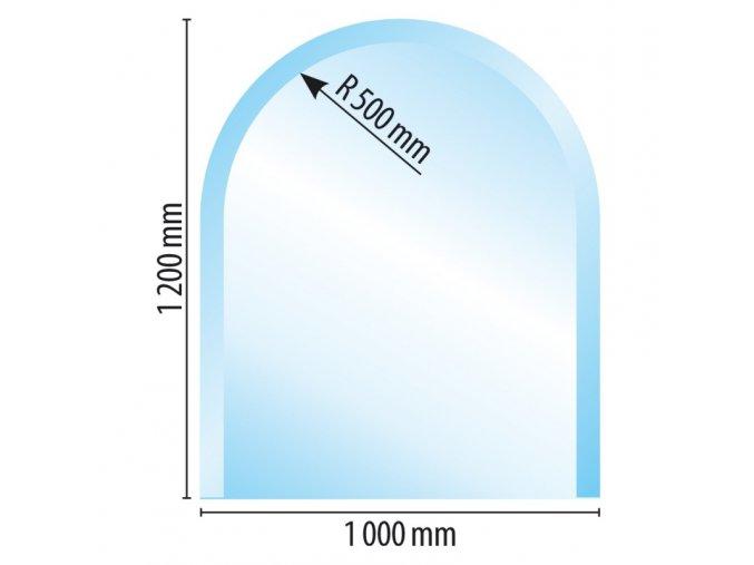 sklo pod kamna typ w100x120x8 R500