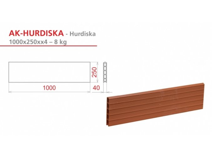 cihlová HURDISKA 1000X250X40