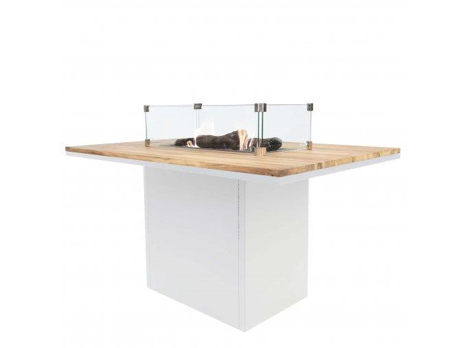 Cosiloft 120 vysoký jídelní stůl bílý rám / deska teak (neobsahuje sklo)