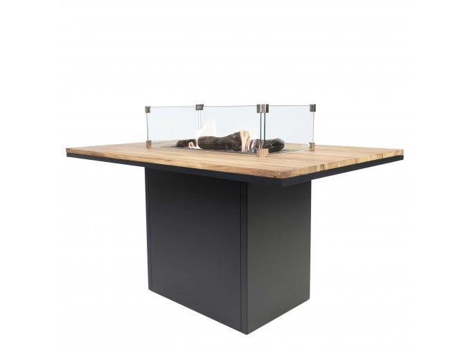 Cosiloft 120 vysoký jídelní stůl černý rám / deska teak (neobsahuje sklo)