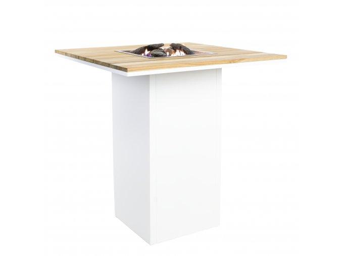 Cosiloft barový stůl bílý rám / deska teak