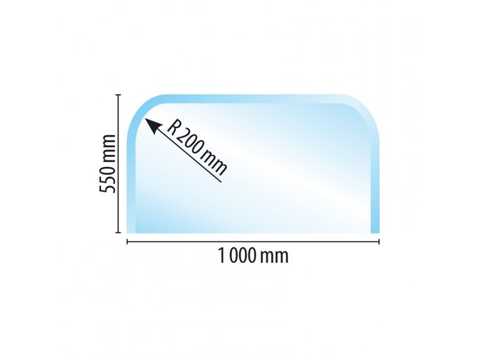 sklo pod kamna typ z i b em w 1000 x 550, R 200