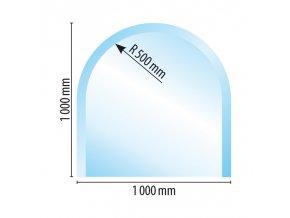 Sklo pod kamna půloblouk 100x100 tl. 8 mm