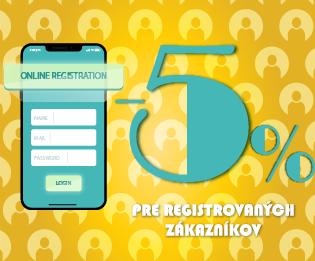 - 5% registrovaný zákazník