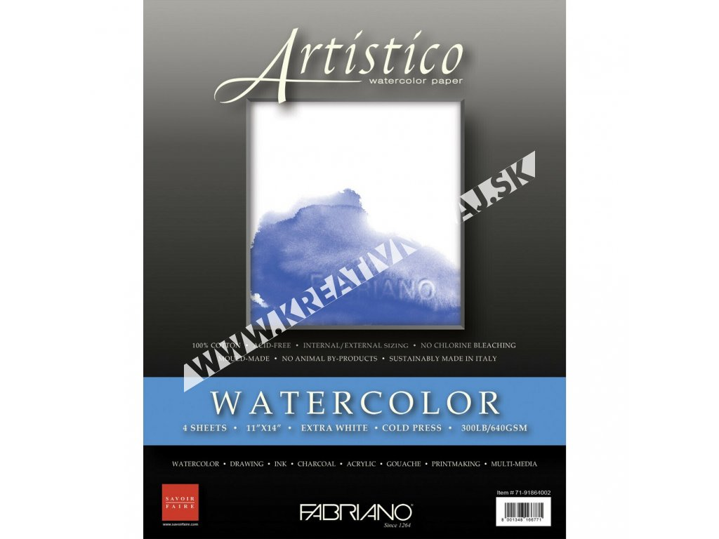 akvarelový papier Fabriano Artistico extra white