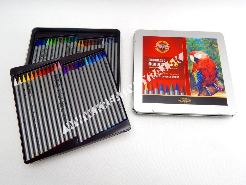 Akvarelové pastelové ceruzky v laku PROGRESSO 48 ks
