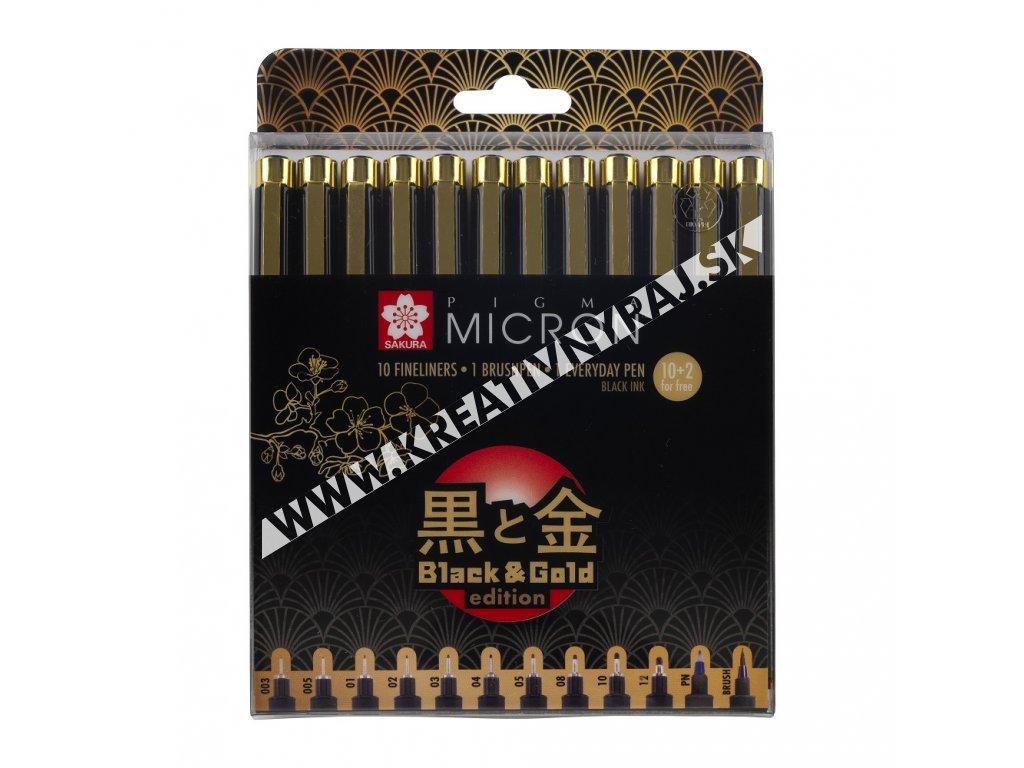popisovač PIGMA MICRON Black Black & Gold Edition 12 ks