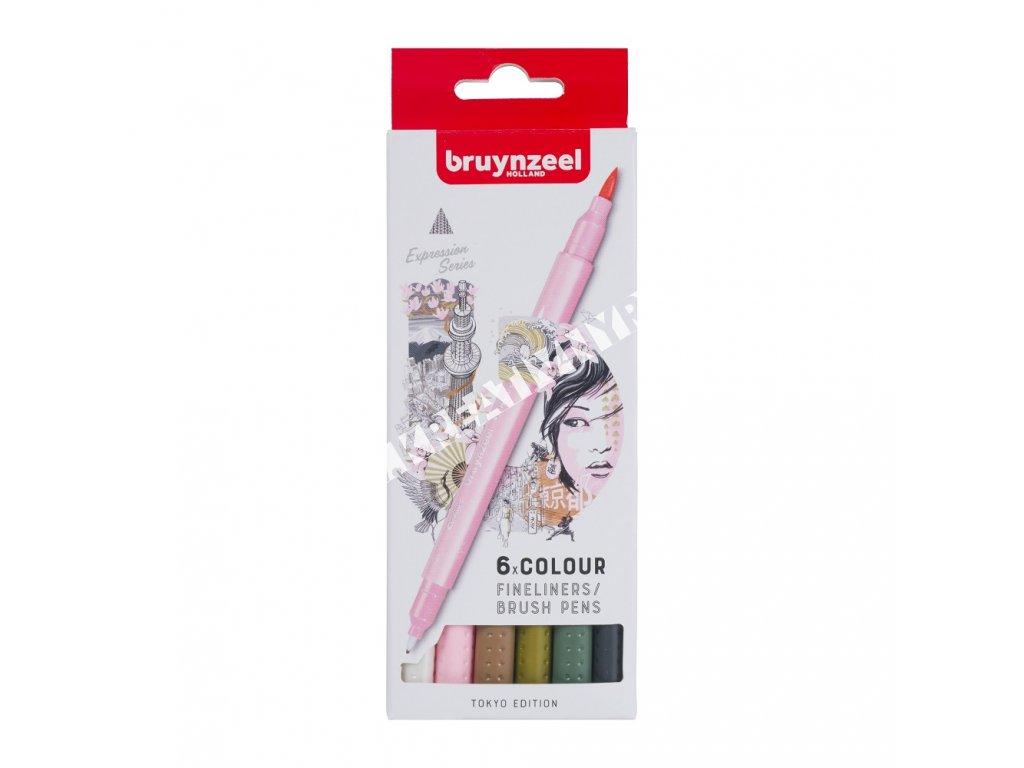 Bruynzeel Fineliner / Brush Pen TOKYO set - 6 ks