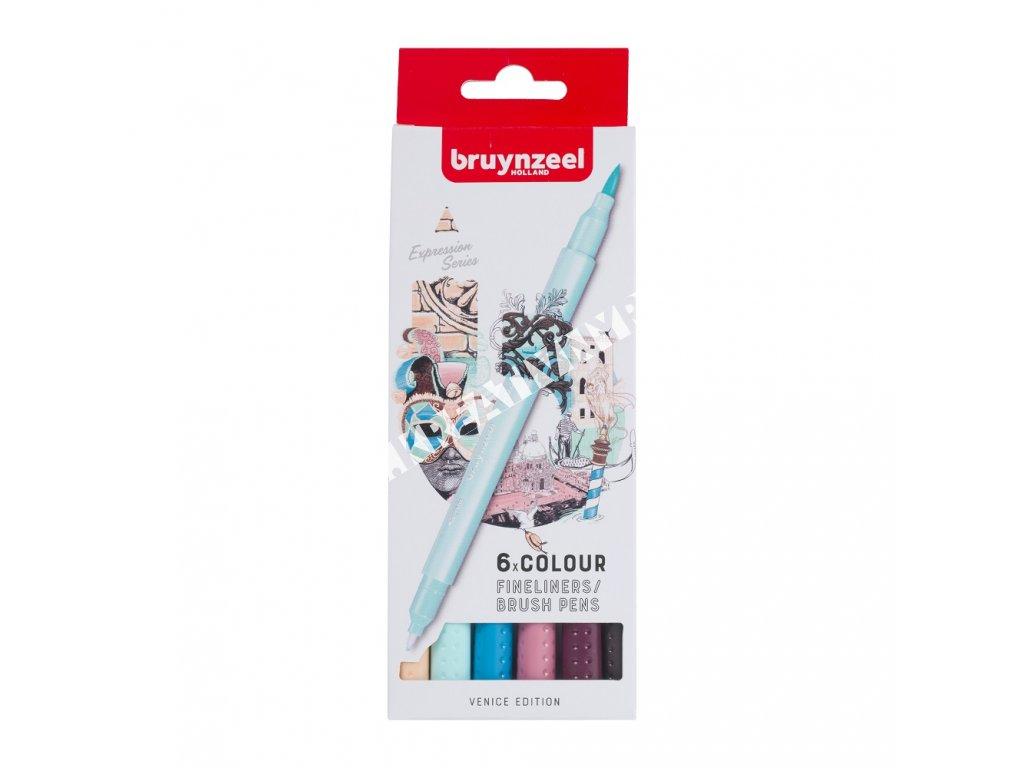Bruynzeel Fineliner / Brush Pen VENICE set - 6 ks
