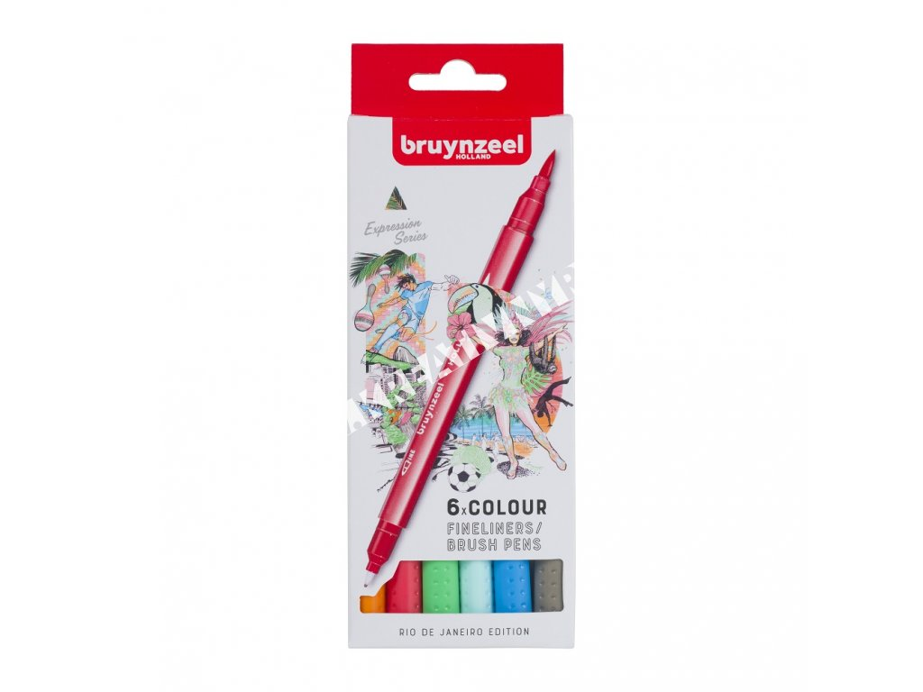 Bruynzeel Fineliner / Brush Pen RIO set - 6 ks