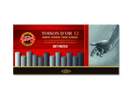 Suchý pastel TOISON DOR 12 ks sede odtiene