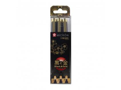 popisovač PIGMA MICRON Black Black & Gold Edition 3 ks