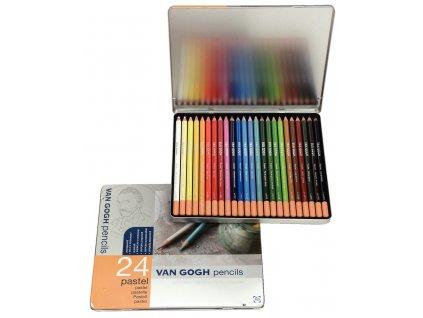 umelecké pastely v ceruzke VAN GOGH 24 ks plechová dóza
