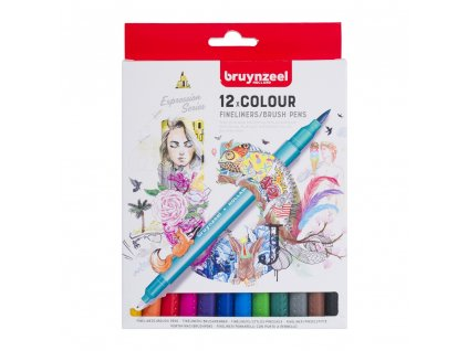 Bruynzeel Fineliner / Brush Pen set - 12 ks