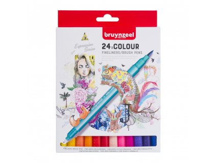 Bruynzeel Fineliner / Brush Pen set - 24 ks