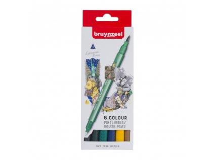 Bruynzeel Fineliner / Brush Pen NEW YORK set - 6 ks