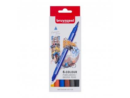 Bruynzeel Fineliner / Brush Pen AMSTERDAM set - 6 ks
