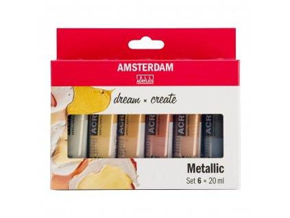 Akrylové farby AMSTERDAM - METALLICS set 6x20 ml