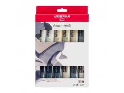Akrylové farby AMSTERDAM - GREYS set 12x20 ml