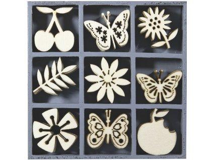 ozdoba drevená ovocie, kvety, motýľ