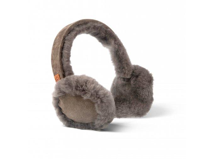kožešinové klapky na uši šedá