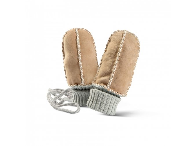 Dětské kožešinové palčáky BALU krémové
