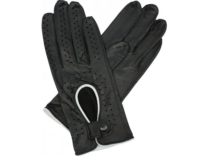 dámské řidičské rukavice černá bílý lem