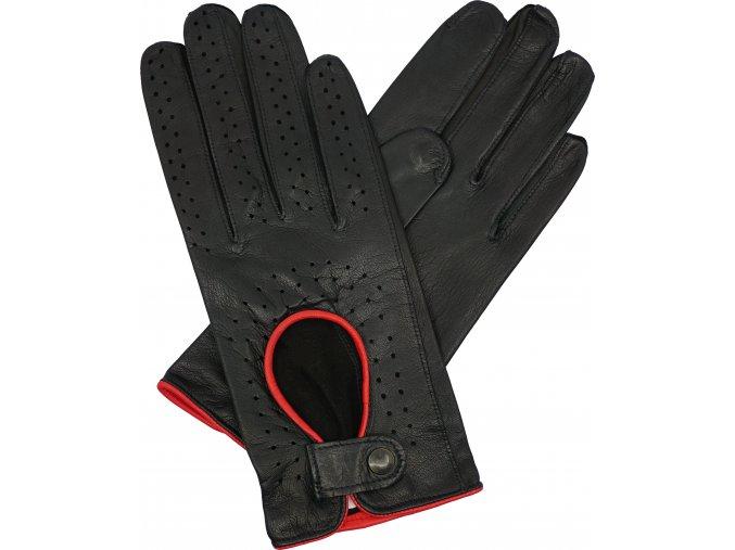 dámské řidičské rukavice černé červený lem