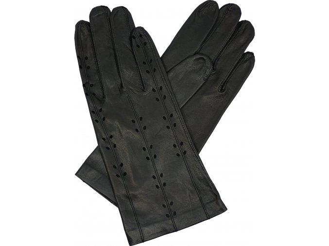 dámské rukavice bezpodšívkové černé výsek lístky