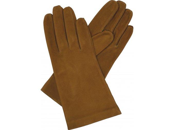 dámské rukavice bezpodšívkové hnědá semiš hladké