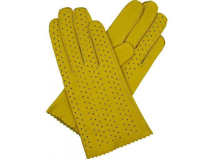 dámské rukavice bezpodšívkové žlutá výsek