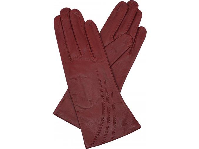 dámské kožené rukavice podšívka UH výšivka červené