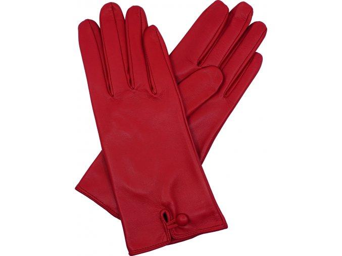 dámské kožené rukavice podšívka UH knoflík červená
