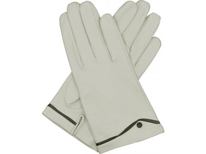 dámské kožené rukavice podšívka UH rozparek bílá