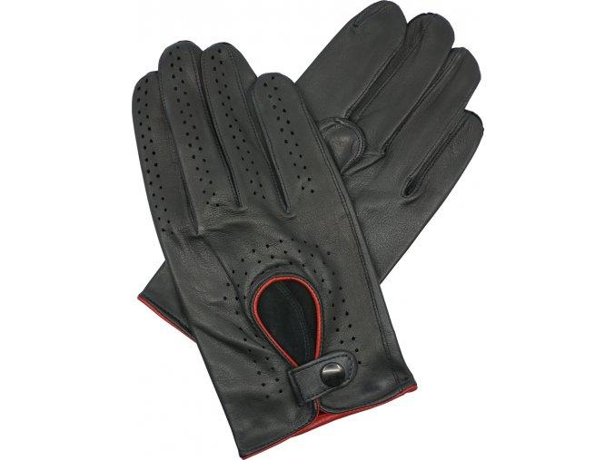 pánské kožené rukavice řidičské černé červený lem