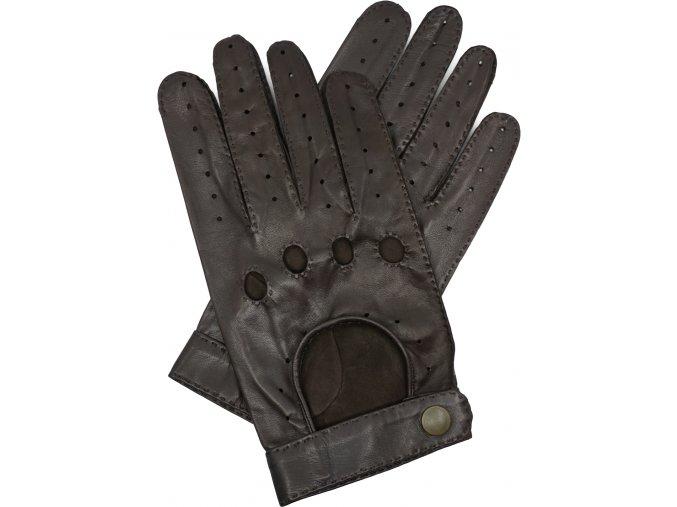 pánské kožené rukavice řidičské hnědé druk