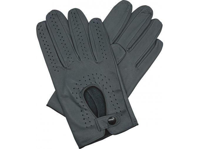 pánské kožené rukavice řidičské šedé černý lem