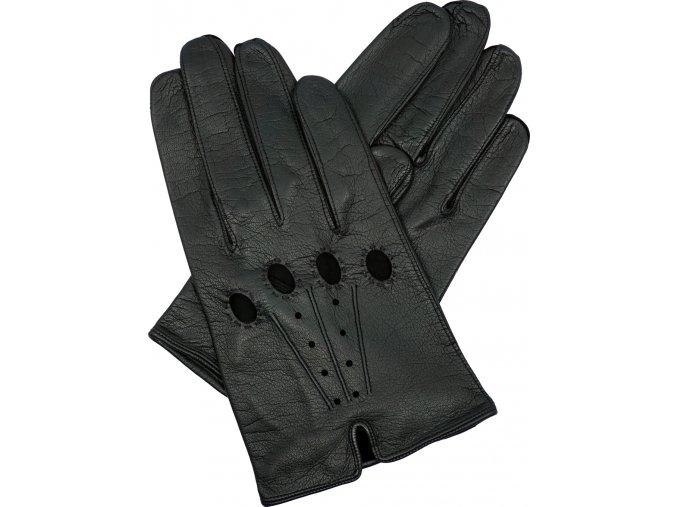 pánské kožené rukavice řidičské černé rozparek