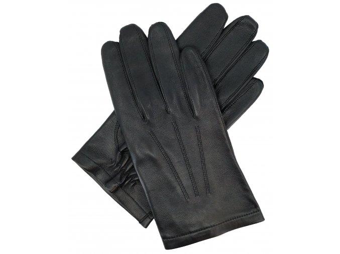 pánské kožené bezpodšívkové rukavice černé