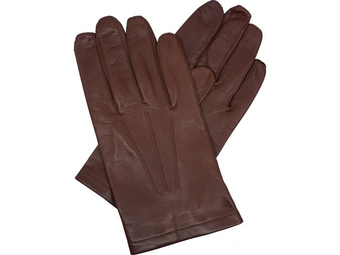 pánské kožené rukavice bezpodšívkové hnědé