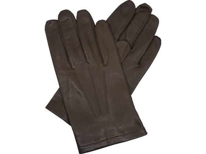 pánské kožené rukavice bezpodšívkové gumička hnědé
