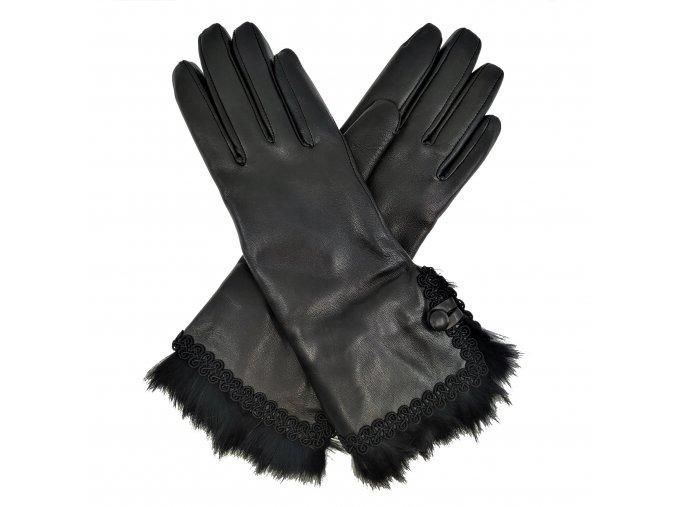 Dámské rukavice s podšívkou a kožešinovou manžetou