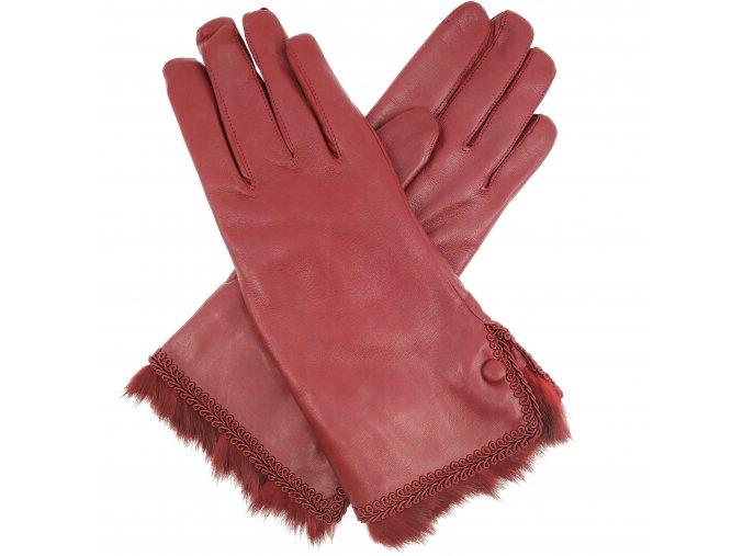 Dámské rukavice s vlněnou podšívkou a kožešinovou manžetou