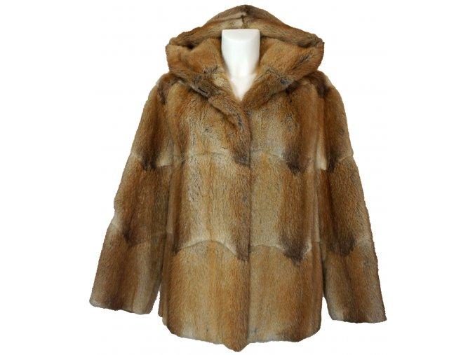 dámská kožešinová bunda s kapucí