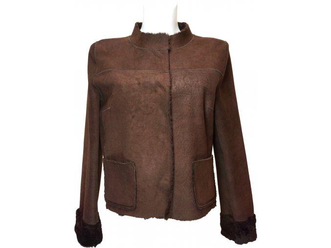 dámská jarní bunda kožešina hnědá